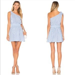 The Tie Shoulder Dress in Baby Blue Gingham